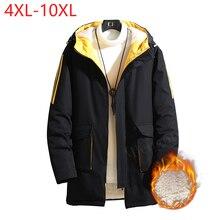 Men's Hip Hop Streetwear Hooded Fashion Stripe Jacket Coat Harajuku Fleece Autumn Winter Outwear Men Clothing Large Size 10XL