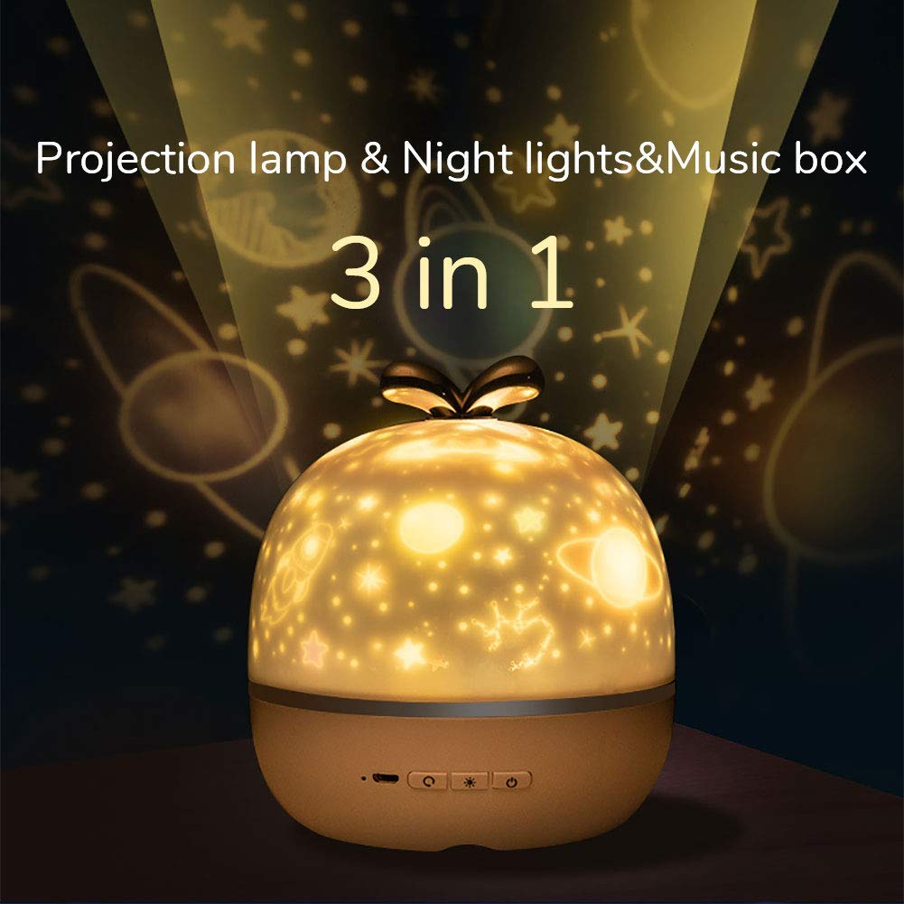 Night Light Projector With Music USB Charging Starry Romance Rotating Projection Lamp For Kids Adults Bedroom Dec Christmas Gift