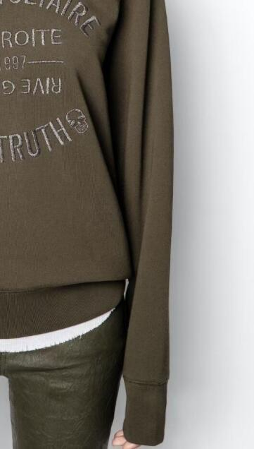 2021 French Chic 100% Cotton Women Pollovers Hoodie Letter Embroidery Green/Black/white O-Neck Loose Long Sleeve Sweatshirt 6