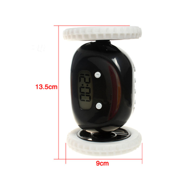 Running robot alarm clock LCD Screen Display Plastic Clock Moving Wheels Digital Clocks Funny Runaway Alarm Clock 1Pcs
