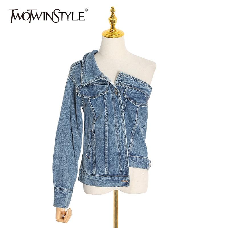 TWOTWINSTYLE Asymmetrical Jacket For Women One Shoulder Long Sleeve Lapel Collar Irregular Hem Coat For Women Spring Fashion New