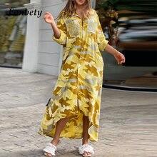 Women Elegant Camouflage Print Sequin Shirt Maxi Dress 2021 Spring Sexy Turn-Down Collar Party Dress Long Sleeve Dresses Pockets