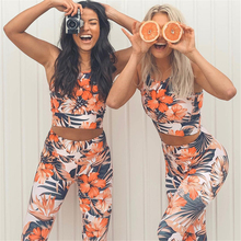 Ariel Sarah Printed Yoga Set Women High Waist Sport Leggings Fitness Tops Gym Two-piece Female Jogging Sportswear