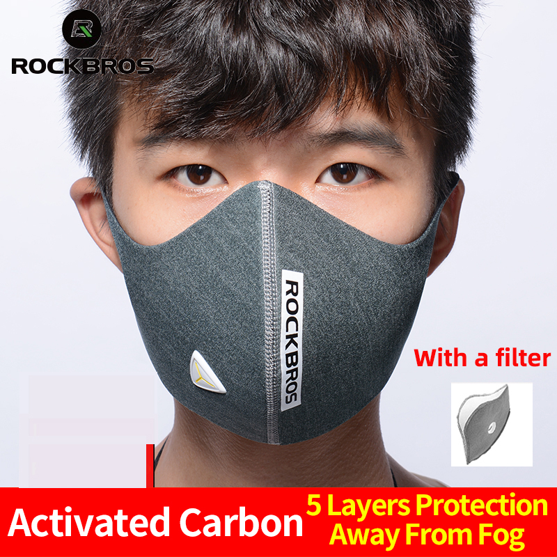ROCKBROS Cycling Face Mask Bicycle Dust Mask Filter Sports Breathable PM2.5 Protective Mouth-Muffle Anti-dust Anti-fog Bike Mask