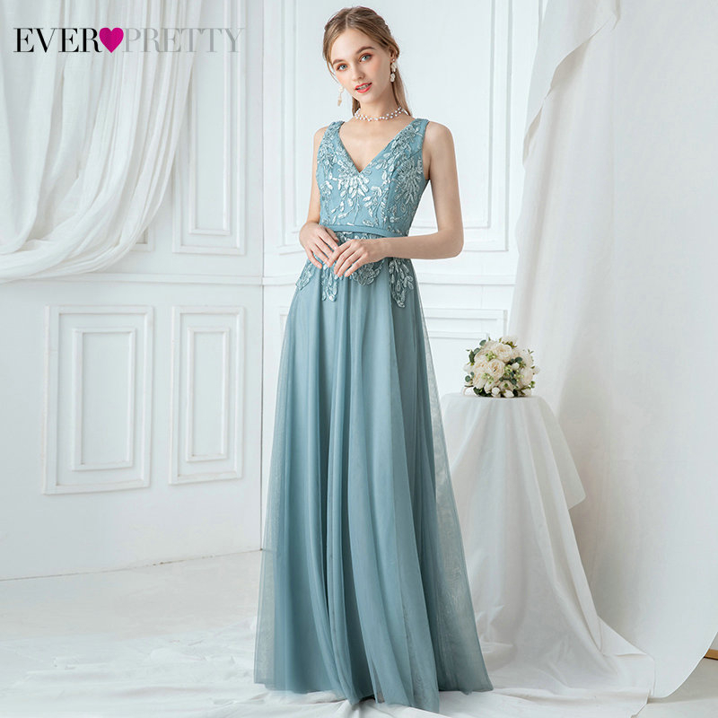 Elegant Blue Bridesmaid Dresses Ever Pretty Sequined Appliques Double V-Neck A-Line Sleeveless Sparkle Wedding Party Gowns 2020