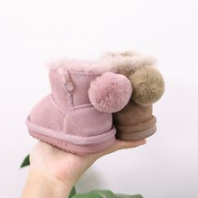 Baby Winter Cotton Shoes Snow Boots Genuine Leather Soft Warm Shoes 0-2 Years Old Baby Toddler Shoes(China)