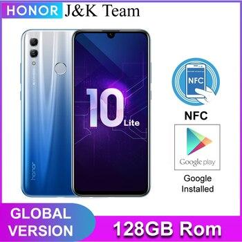 Honra 10 lite 128gb, nfc versão global smartphone, câmera 24mp celular, 6.21 polegada 2340*1080 pix display, impressão digital 1