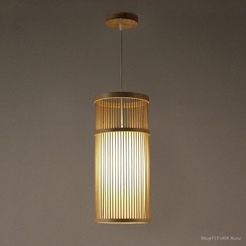 Işıklar ve Aydınlatma'ten Kolye ışıkları'de Japon kolye lamba çay odası koridor yemek odası ışıkları yatak odası başucu lambası bambu dokuma asılı lamba LED kolye ışık E27 title=