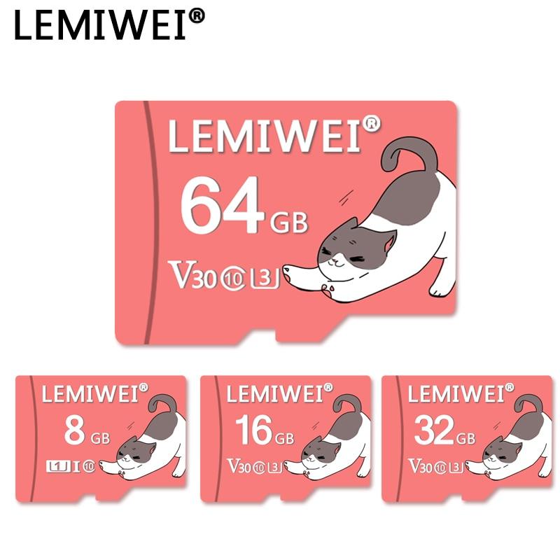 Lemiwei Flash Card 64GB The Cute Cat Memory Card 32GB Class 10 V30 U1 U3 TF Card 16GB 8GB For Smartphone And Table PC