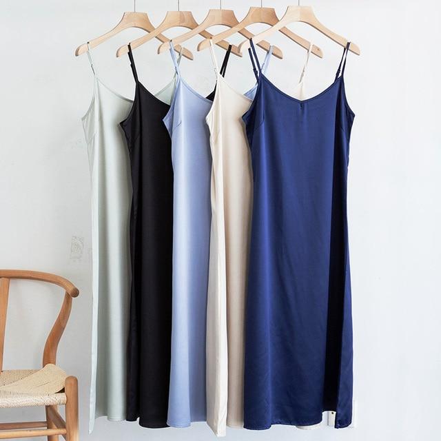 Fashion High Quality Women's Dress Summer Spaghetti Satin Long Woman Dress Very Soft Smooth Plus Size S-4XL M30262 1