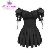 Lolita robe gothique pour femmes, robe courte noire à manches courtes, Sexy, coupe trapèze, taille haute, Punk, été, à lacets
