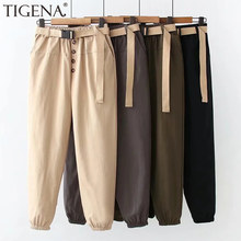 TIGENA High Waist Women Cargo Pants 2021 Spring Summer Korean Casual Ankle Length Harem Pants with Belt Pocket Trousers Women