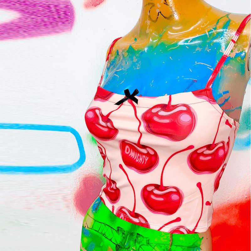 달콤한 핑크 체리 카미 탑 여성 2020 여름 새로운 작물 탑스 하라주쿠 소녀 섹시 스키니 캐미솔 Streetwear 파티 클럽 조끼 여성