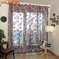 Sheer See Through Jaquard Lace Flower Window Lace Sheers Curtains Tulle Embroidered Bedroom Customize Transparent AXY8177