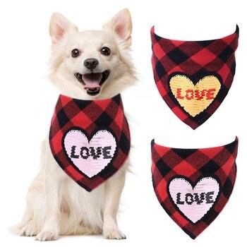 1PCS Cute Pet Bandana Fashion Creative Dog Bandana Pet Bib Pet Scarf Neckerchief for Valentine's Day Necklace Collar Accesories 1
