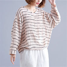 2019 New Fashion Women T-shirts V Neck Long Sleeve Tees Autumn Cotton Linen Casual Striped Loose Vintage Ladies Shirts Blusas(China)
