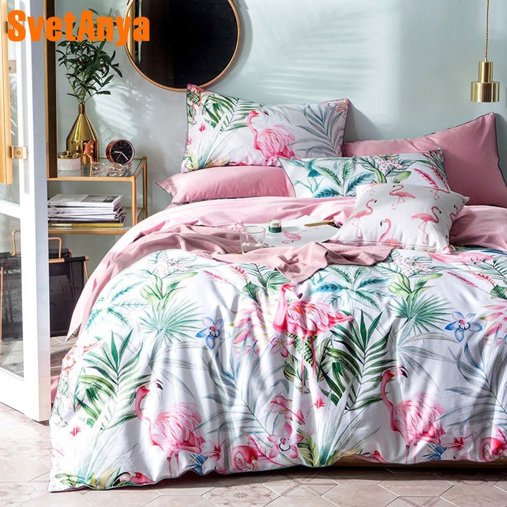 Bedding-Set Bedspread Duvet-Cover-Set Bedlinens Flamingo Pink Egyptian Cotton Queen-Size