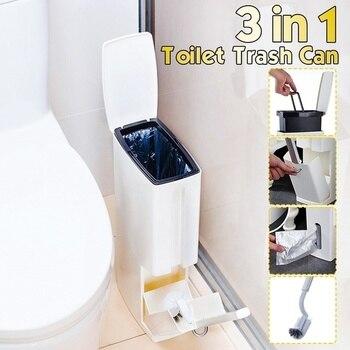 Juego de cubos de basura de plástico con cepillo para el baño, cesto de basura para baño, cubo de basura, dispensador de bolsas de basura