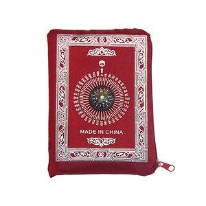 Image 5 - Polyester Draagbare Gevlochten Matten Gebedskleed Moslim In Pouch Mat Gewoon Print Hot Koop 1 Pc 100*60 Cm reizen Met Kompas Deken