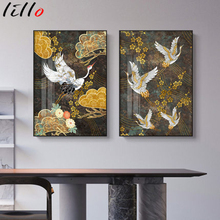 Chinese ancient style animal painting on canvas golden flowers abstract crane decorative poster wall aesthetic room decoration