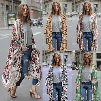 Kimono largo de talla grande 3XL 5XL para mujer, cárdigan de gasa con estampado Floral de leopardo, ropa de abrigo bohemia asimétrica, verano 2020
