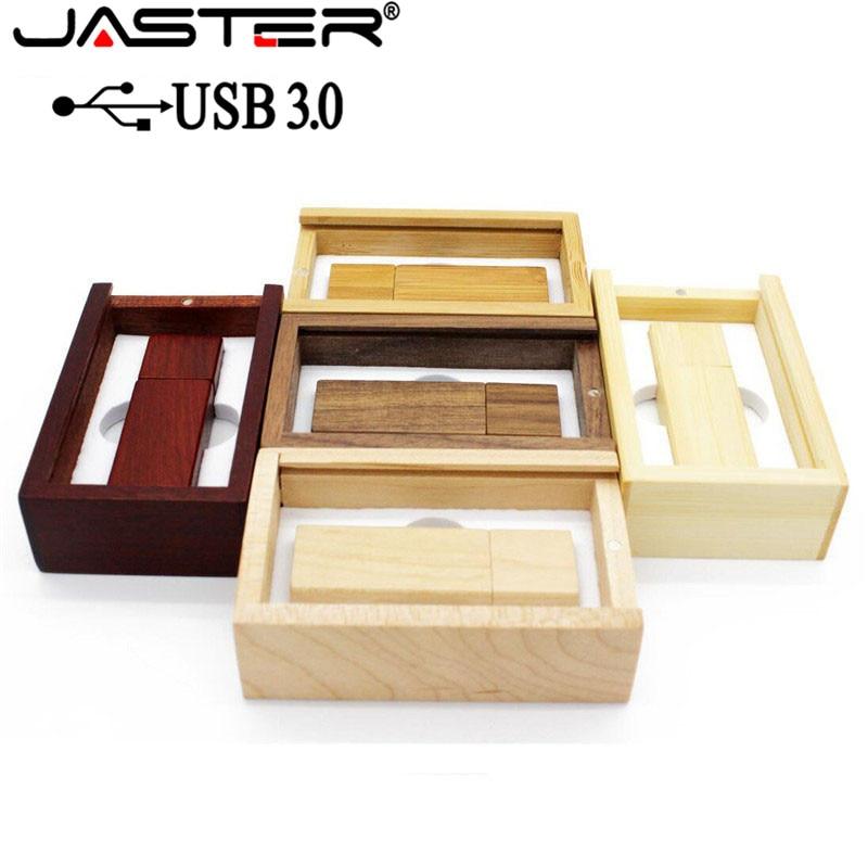 JASTER USB 3.0 Wooden Usb+BOX Usb Flash Drive Memory Stick Pendrive 4GB 8GB 16GB 32GB 64GB U Disk Wedding Gift Free Custom Logo