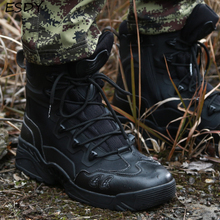 Esdy New Winter Boots Men Military Boots Tactical Desert Combat Ankle Boots Army Work Shoes Men Leather Boots Winter Men Shoes military tactical boots desert combat outdoor army hiking travel botas shoes leather autumn ankle men boots winter boots