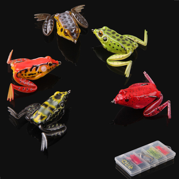 5pcs/box 16g Frog Fishing Lures Kit Snakehead Lure Topwater Floating Ray Frog Artificial Bait pesca isca for trout bass fishing