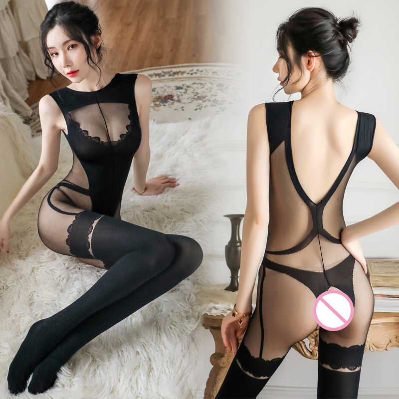 Sexy Open Crotch Tights Silk Transparent Bodysuit Body Stockings Erotic Underwear Women Sexy Teddy Lingerie Porn Sex Costumes image