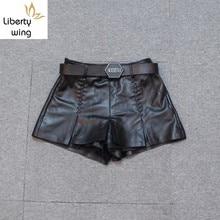 New Fashion Women Punk Black Sheepskin Genuine Leather Wide Leg Short Trousers Belted Slim Fit Casual Motor Biker Female Shorts