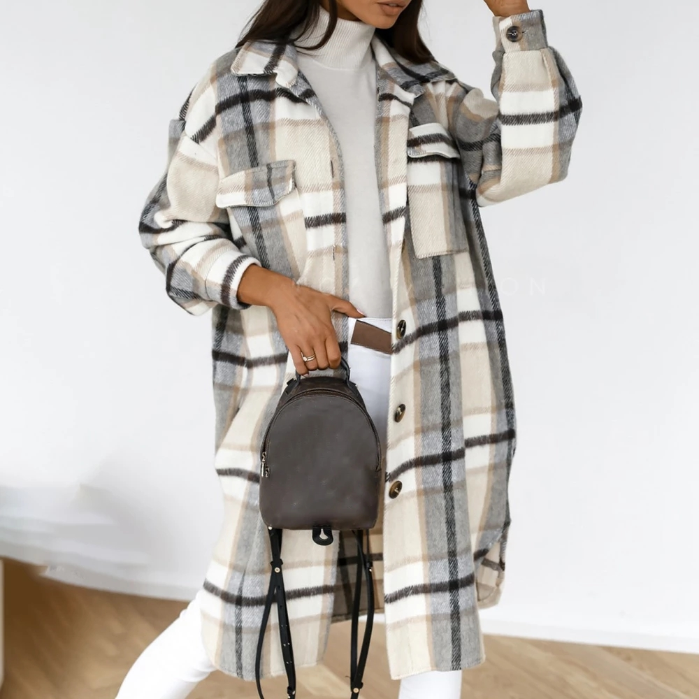 Checked Jacket Overcoat Streetwear Long-Coat Oversized Turn-Down Thick Winter Women Casual
