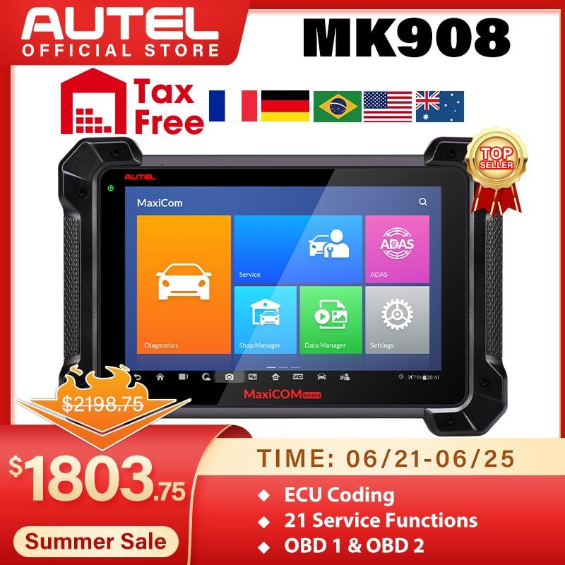 Autel MaxiCOM MK908 OBD2 Car Diagnostic Tool 12 languages ECU Coding PK MS908 MK908 PRO OBD 2 Auto Scanner 80 + softwares OBD1