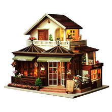 Large Coffee Wooden Doll House Manual Assembling Model Toys Diy Wooden Hut House With Led Light Music Small Tools Birthday Gift