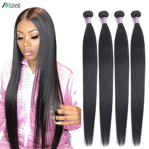 Allove Straight Hair Bundles Brazilian Hair Weave Bundles 100% Human Hair Bundles 30 32 34 36 38inch Non Remy Hair 1/3/4 Pieces(China)