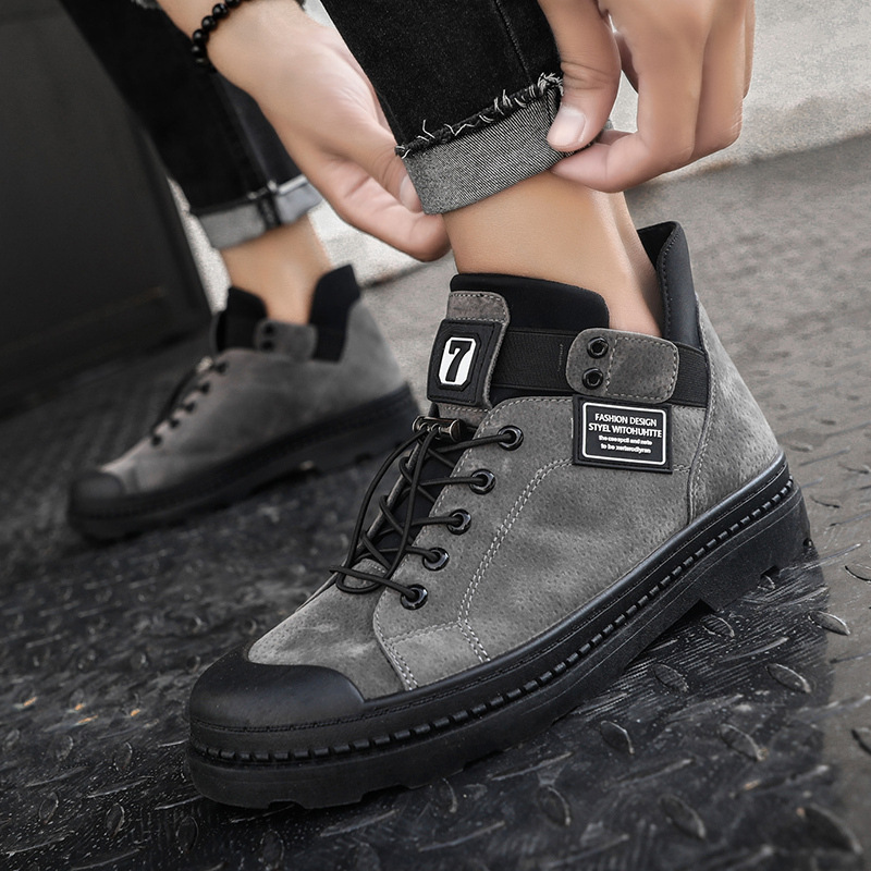 Winter Men Canvas Shoes Casual High Top Military Tactical Boots Men Outdoor Fashion Suede Leather Mens Ankle Work Boots