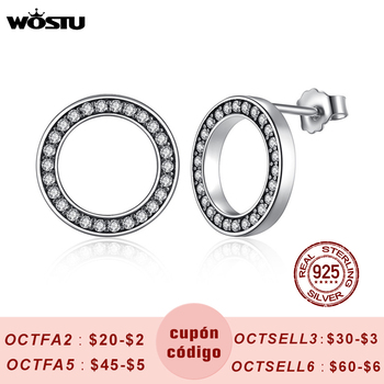 WOSTU Hot Fashion 100% 925 Sterling Silver Lucky Forever Circular Stud Earrings For Women Authentic Original Jewelry Gift makeup case portable double open aluminum travel cosmetic organizer box makeup train case professional cosmetics bag veninow