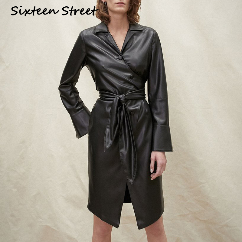 PU   Leather   Long Coat Woman Long Sleeve Black Pu Jacket With Belt Autumn Winter 2019 New Down