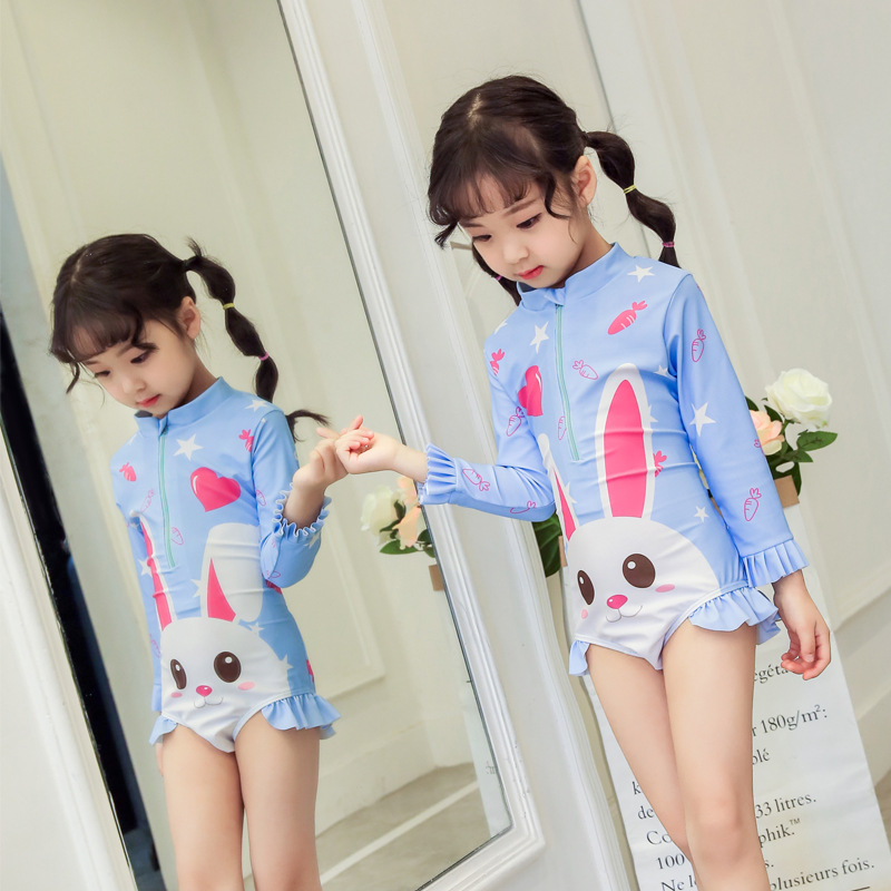 South Korea INS Baby Bathing Suit Girls Bunny Modeling Korean-style One-piece Long Sleeve Warm Hot Springs Swimsuit Set Fashion