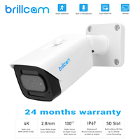 Brillcam 4K IP Camera Outdoor 8MP Waterproof Bullet IP Camera POE Microphone SD Slot Home Night Vision Security Camera System
