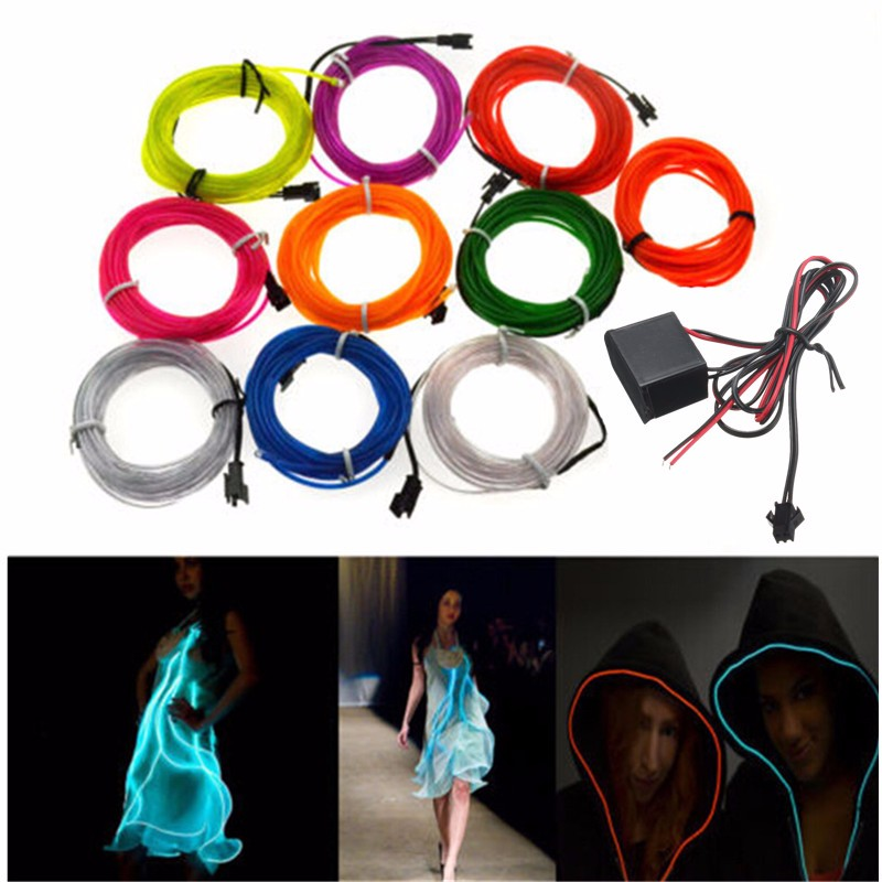 Waterproof 300CM LED Strip Light Neon Light Glow Flexible EL Wire Rope Tube Cable+Controller for Car Decoration Party