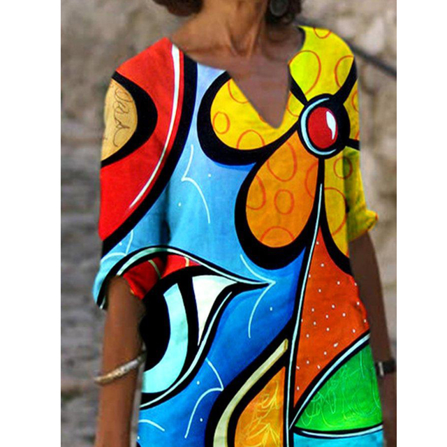 Plus Size Casual V Neck Abstract Printed Dresses 6