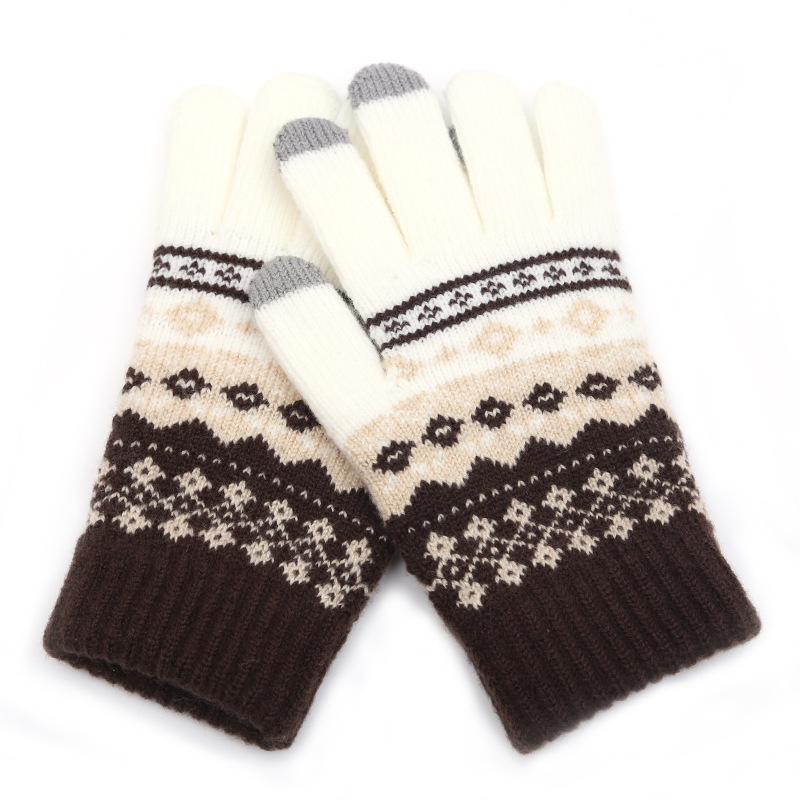 2020 Winter Warm Thick Touch Screen Gloves Women's Wool Knitted Gloves Mittens for Mobile Phone Pad Full Finger Guantes Crochet