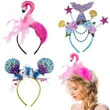 Amawill Mermaid Crown Headband Flamingo Headpiece Hair Hoop Adults Kids Cameo Shell Hair Accessories Birthday Party Decoration