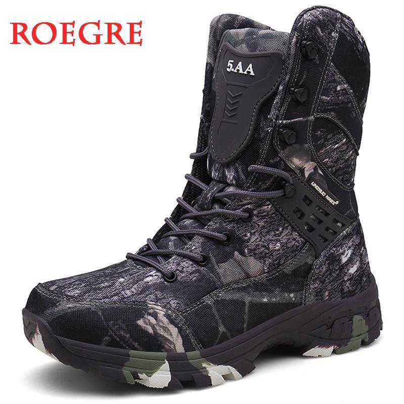 Новые водонепроницаемые мужские тактические военные ботинки, ботинки для пустыни, камуфляжные ботинки с высоким берцем для пеших прогулок, мужские ботинки, модная Рабочая мужская обувь| | | АлиЭкспресс