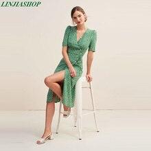 Vestido Vintage rouje gabin con fajas cuello en v verde Roja francesa romántica estampado de otoño midi vestido de talla grande vestidos femeninos