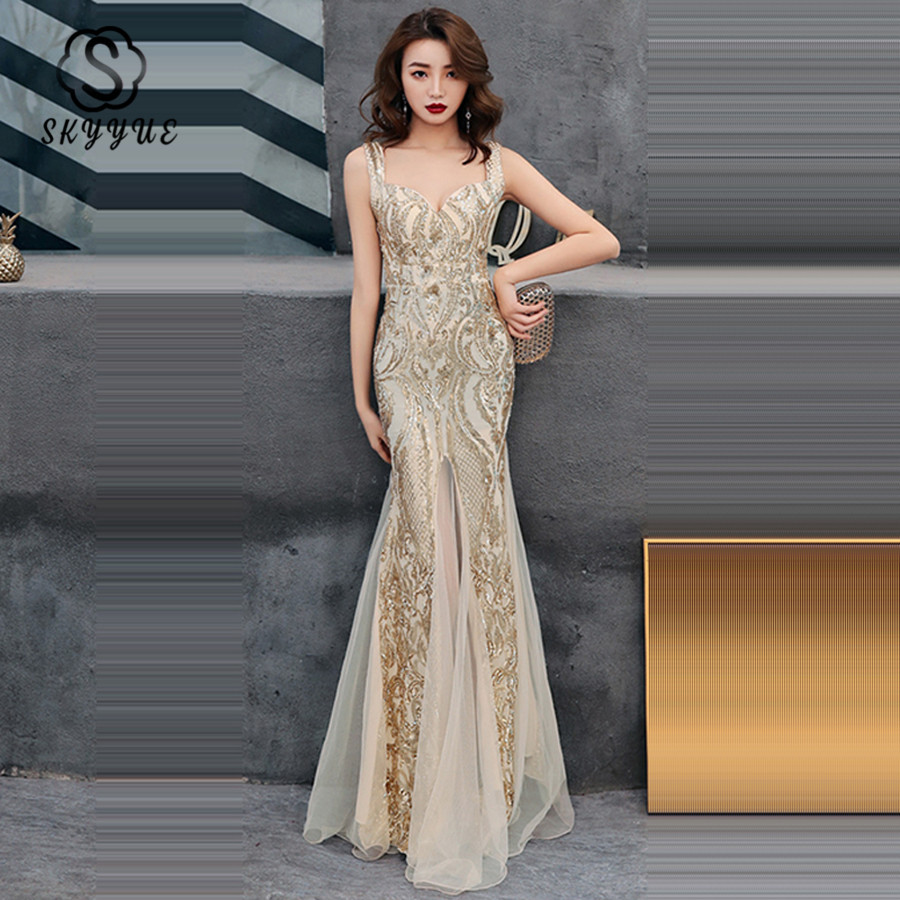 Skyyue Evening Gown Sexy Tank Robe De Soiree C304 Sleeveless Formal Dresses 2019 New Blackless Sequin Split Mermaid Evening Gown
