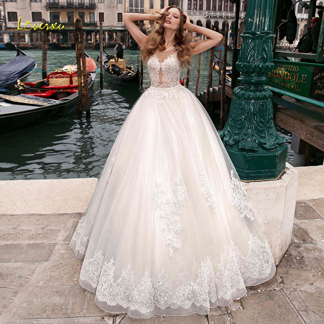 Loverxu Illusion Scoop Ball Gown Wedding Dresses Chic Appliques Cap Sleeve Button Bride Dress Court Train Bridal Gowns Plus Size