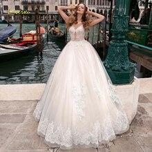 Loverxu ilusão colher bola vestido de casamento vestidos chiques apliques boné manga botão vestido de noiva tribunal trem vestidos de noiva mais tamanho
