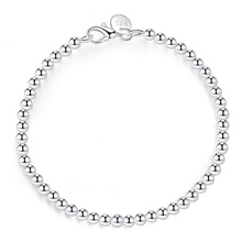 100% чистое серебро 925 пробы, модный 4 мм браслет-цепочка с бусинами для женщин 20 см для девушек-подростков, женский подарок, Женские Ювелирные ...