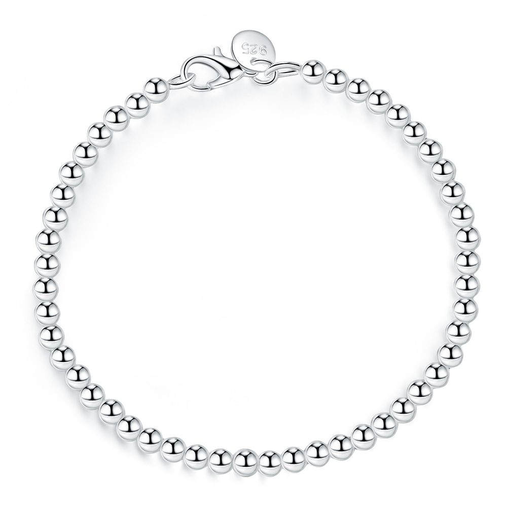 100% 925 Solid Real Sterling Silver Fashion 4mm Beads Chain Bracelet For Women 20cm For Teen Girls Lady Gift Women Fine Jewelry